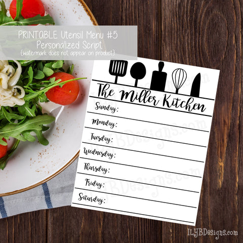PERSONALIZED PRINTABLE Utensil Menu #5 - ILYB Designs
