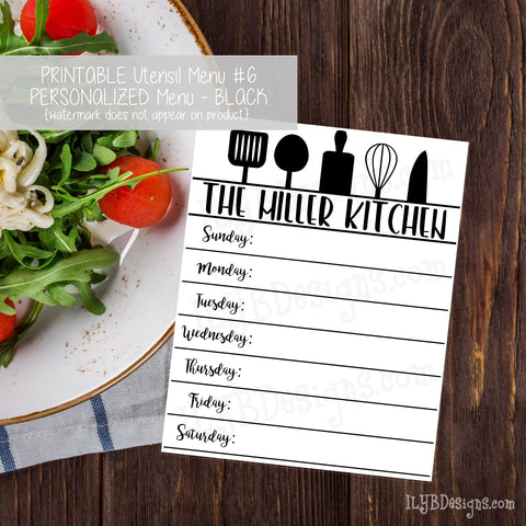 PERSONALIZED PRINTABLE Utensil Menu #6 - ILYB Designs