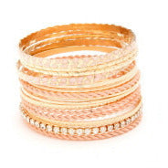 Peach Colored Assorted Stacked Bangle Set - Dazzle Her Now