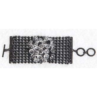 Black Metal Center Flower Statement Bracelet - Dazzle Her Now