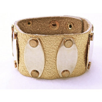 Leather Gold Cuff with Gold Tone Plates - Dazzle Her Now