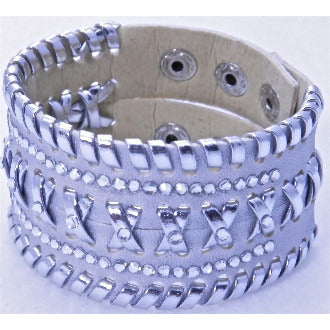 Braided Leather Bracelet with Crystals - Silver - Dazzle Her Now