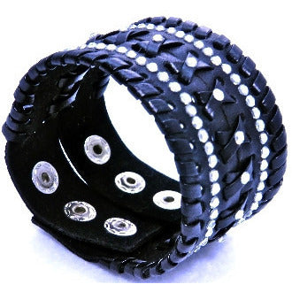 Braided Leather Bracelet with Crystals- Black - Dazzle Her Now