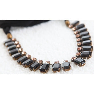 Sparkling Rays Of Light Necklace - Jet Black - Dazzle Her Now