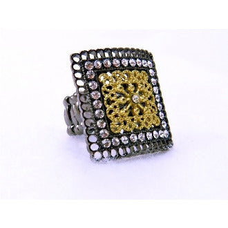 Black/Gold Square Ring - Dazzle Her Now