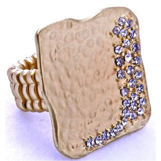 Adjustable Gold Square Ring with Rhinestones - Dazzle Her Now