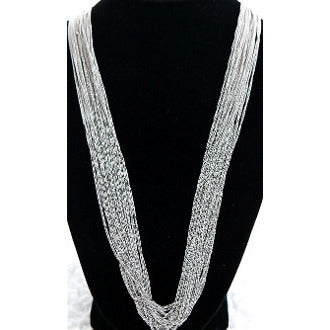 Silver Long Strand Necklace - Dazzle Her Now