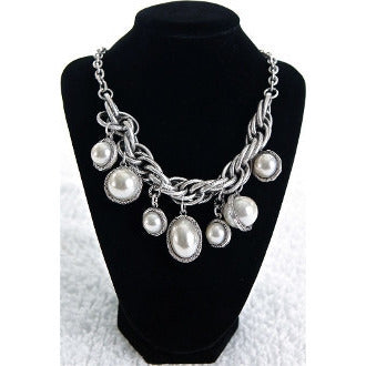 Silver Pearl Ball Necklace - Dazzle Her Now