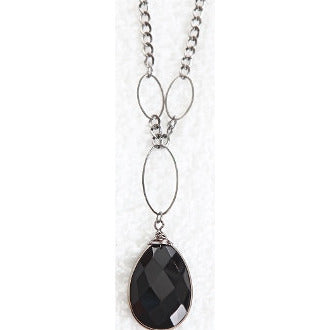 Raindrop Pendant Necklace - Black - Dazzle Her Now