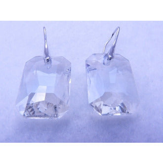 Clear Rectangle Faceted Crystal Earrings - Dazzle Her Now