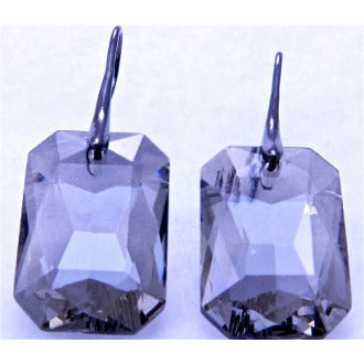 Gunmetal Rectangle Faceted Crystal Earrings - Dazzle Her Now