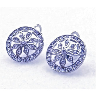 Cubic Circle Flower Earrings - Dazzle Her Now