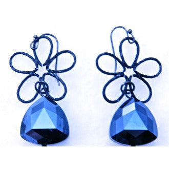 Blue Flower Drop Earrings - Dazzle Her Now