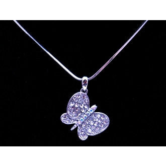 Sterling Silver Crystal Butterfly Necklace - Dazzle Her Now