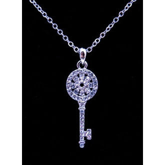 Silver Crystal Key Necklace - Dazzle Her Now