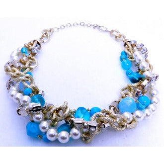 Let's Party Blue Beads with Pearls and Diamond Chain Necklace - Dazzle Her Now