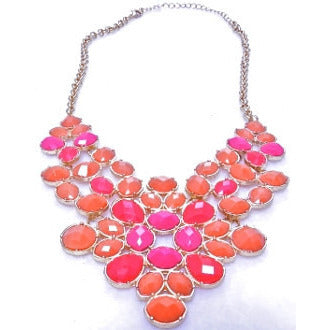 Coral and Tangerine Bib Necklace - Dazzle Her Now