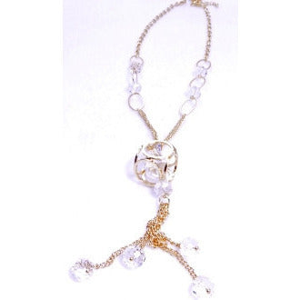 CIrcle in the Square Gold Crystal Dangle Necklace - Dazzle Her Now