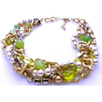 Let's Party Lime Green Beads with Pearls and Diamond Chain Necklace - Dazzle Her Now