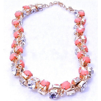 Dazzling Short Diamond Necklace - Coral - Dazzle Her Now