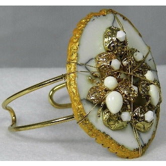 White and Gold Stone Cuff - Dazzle Her Now