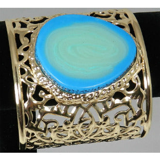 Gold Cuff w/ Blue Stone - Dazzle Her Now