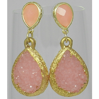 Pink Faux Druzy Teardrop Earrings - Dazzle Her Now