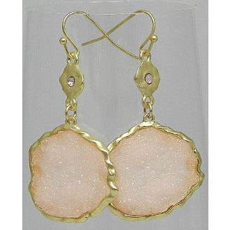Pink Misshapen Druzy Gold Circle Earrings - Dazzle Her Now