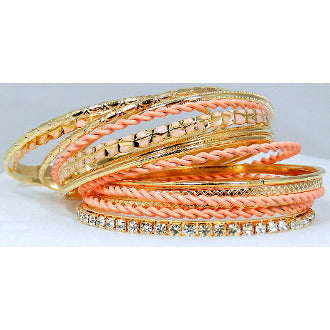 Assorted Stacked Bangle Set of 15 - Pink