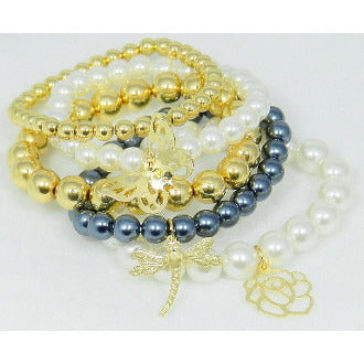 Tri-Toned Stacked Pearl Charm Bracelet Set - Dazzle Her Now