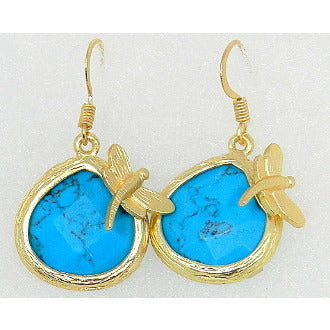 Waterdrop Stone Earrings with Dragonfly Accent - Turquoise - Dazzle Her Now