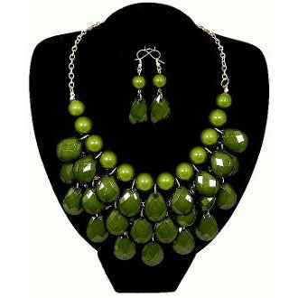 Teardrop Jewel Bubble Necklace Set - Olive - Dazzle Her Now