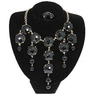 Black Gold Tone Bubble Necklace Set - Dazzle Her Now
