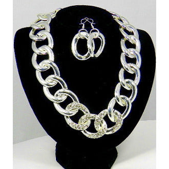 Silver Link Chunky Statement Chain w/ Crystals Necklace Set - Dazzle Her Now