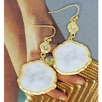 White Misshapen Druzy Gold Circle Earrings - Dazzle Her Now