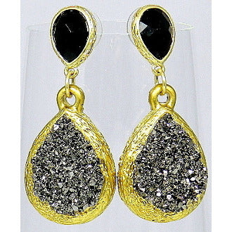 Black and Metallic Gray Faux Druzy Teardrop Gold Tone Earrings - Dazzle Her Now