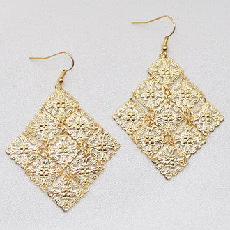 Connected Flower Square Earrings - Gold - Dazzle Her Now
