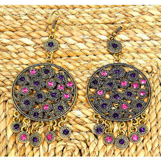Antique Gold Tone Circle Coin Earring - Purple and Pink - Dazzle Her Now