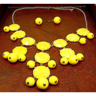 Bubble Bib Necklace - Yellow - Dazzle Her Now