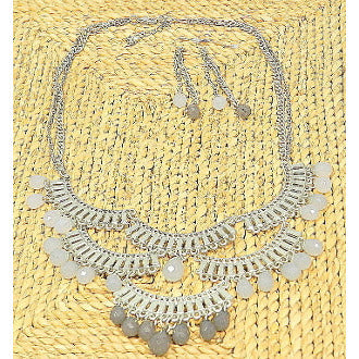 Indian Inspired Chandelier Bib Beaded Necklace Set - Matte Silver - Dazzle Her Now