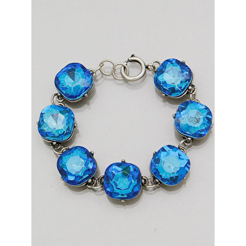 Blue Zircon Colored Square Gem Link Bracelet - Dazzle Her Now
