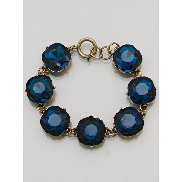 Capri Blue Square Gem Link Bracelet - Dazzle Her Now