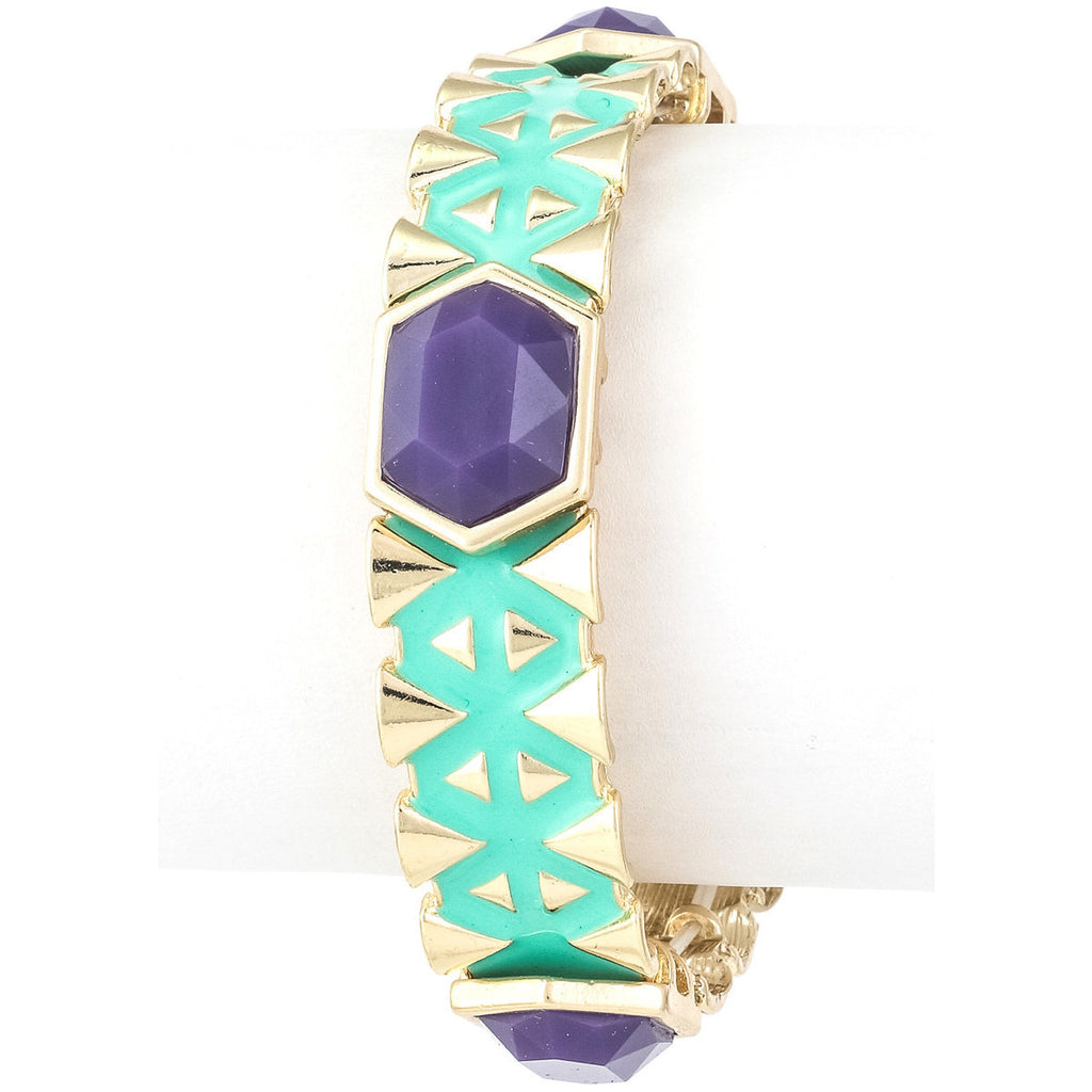 Mint Green and Navy Blue Tribal Pattern Stretch Bracelet - Dazzle Her Now