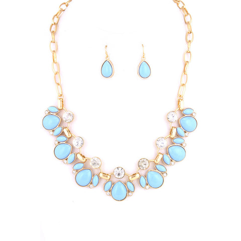 Baby Blue Drops and Gems Chain Link Necklace Set - Dazzle Her Now