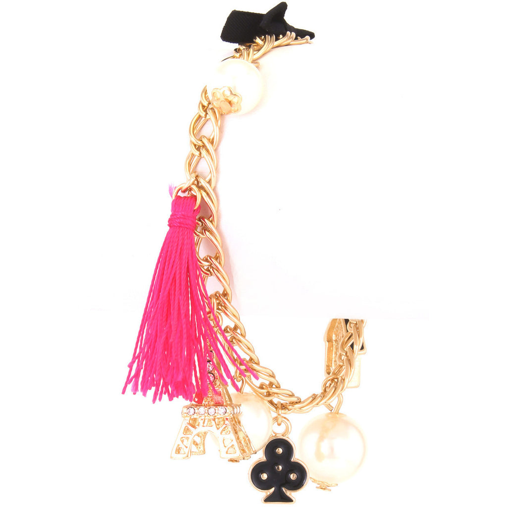 Pretty In Pink Paris Charm Bracelet - Dazzle Her Now