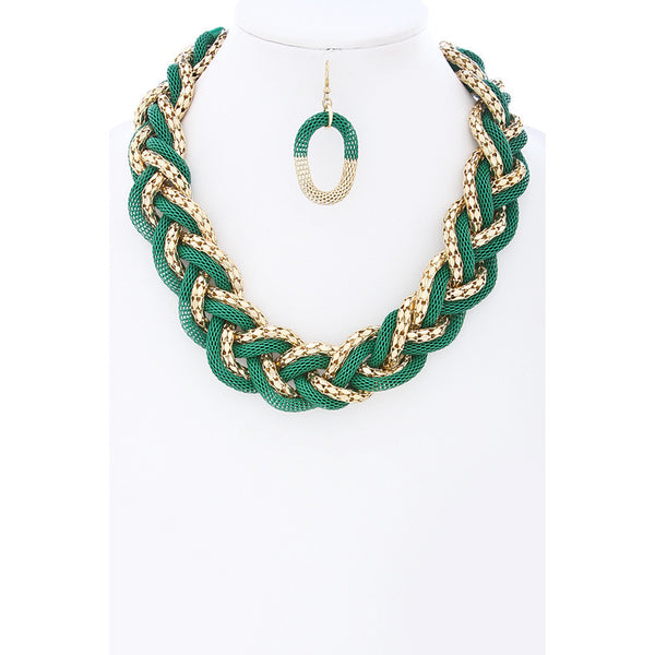 Green and Gold Braided Mesh Chain Choker Necklace Set - Dazzle Her Now