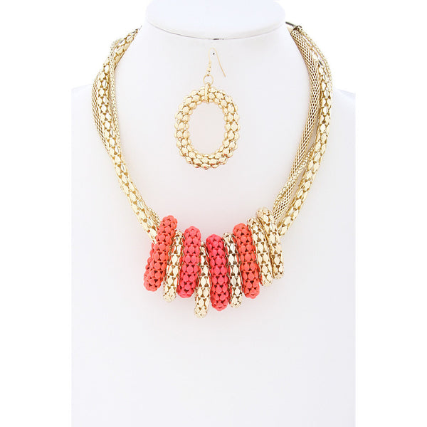 Coral Mesh Chain Ringlet Necklace - Dazzle Her Now
