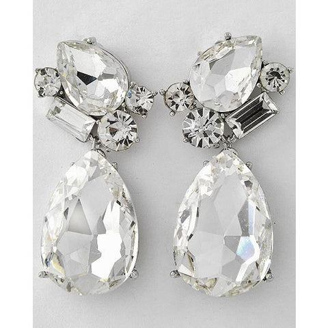 Clear Crystal Silver Teardrop Dangle Earrings - Dazzle Her Now