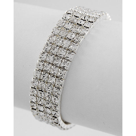 Bedazzled Four Row Stretch Rhinestone Bracelet - Dazzle Her Now