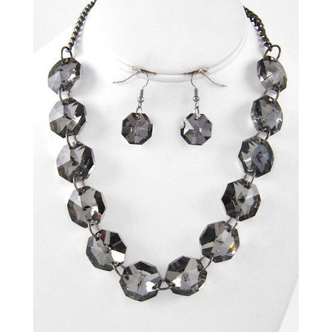 Round Hematite Tone Stone Necklace Set - Dazzle Her Now